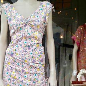 Moschino dress pink v neck ribbons bows pastel